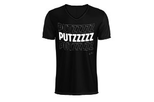 Camiseta PUTZ - Preta com letras brancas