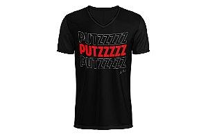 Camiseta PUTZ - Preta com letra vermelha.
