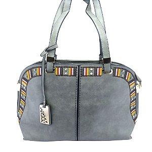 Bolsa Feminina Oval  Grande Grey com Bordado Etnico