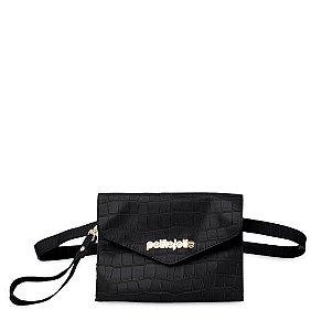 Pochet Shoulder Bag Feminina Petite Jolie Croco Preta PJ4411