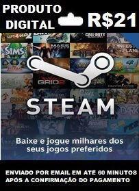 R$21 de Saldo para Steam