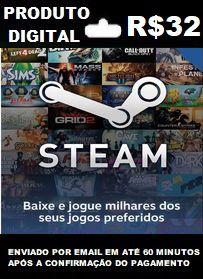 R$32 de Saldo para Steam