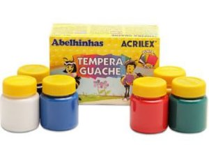Tinta Tempera Guache com 6 Cores - Acrilex