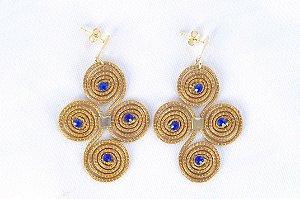 Brinco Capim Dourado C/ Strass Azul  Cód. B111 - Hipoalergênico
