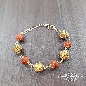 Pulseira Capim Dourado c/ Pedra Sol Cód. P412 - Hipoalergênico