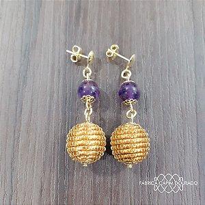Brinco Capim Dourado C/ Pedra Natural Ametista Cód. B403 - Hipoalergênico