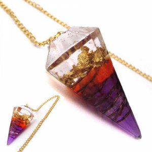 Pêndulo de orgonite raio violeta Saint Germain - transmutação - folha de ouro