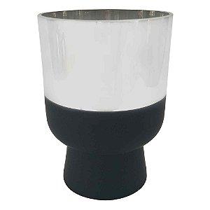 Vaso Metalizado Prata e Preto M