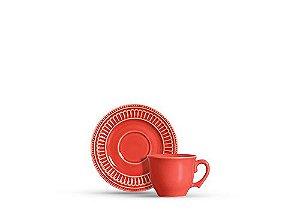 Conjunto Xícaras de Chá com Pires Poppy Coral 6 Pçs