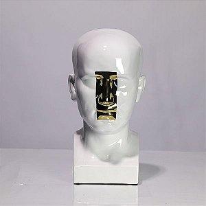 Escultura Rosto Branco/Dourado