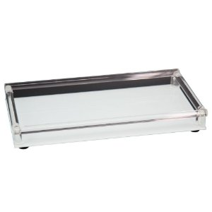 Bandeja vidro branco e lateral acrílico