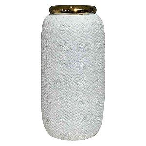 Vaso Branco e Dourado