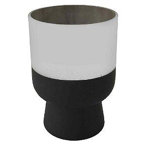 Vaso Metalizado Prata e Preto P