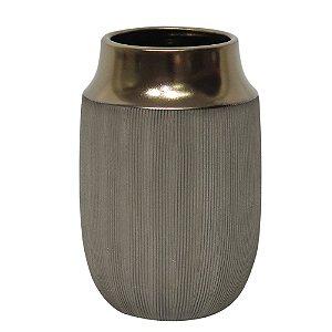 Vaso Decorativo Cinza e Dourado