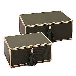 Conjunto de Caixas Verde Metal Dourado | 2 pçs