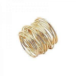 Conjunto Argolas de Guardanapo Espiral Dourado