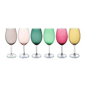 Conjunto Taças Vinho Coloridas 6 Pçs