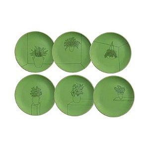 Conjunto Pratos Sobremesa Horta Verde 6pçs
