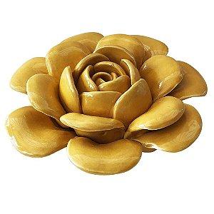 Flor de Cerâmica Amarela