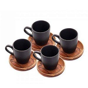Conj. Xicaras Cafe c/ Pires de Madeira Teca 4pçs