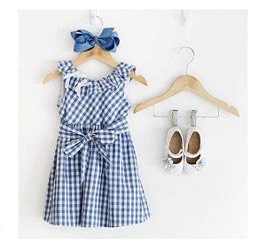 vestido xadrez azul