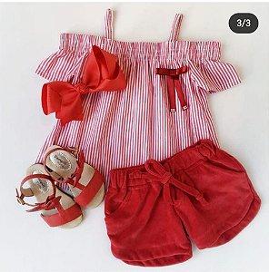 DUPLICADO - conjunto bata xadrez e shorts em plush vermelho tamanho 2