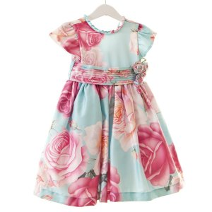 Vestido Flores azul/rosa