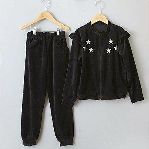Conjunto de Plush Estrelas preto
