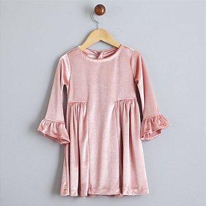 Vestido Veludo rosa brilho