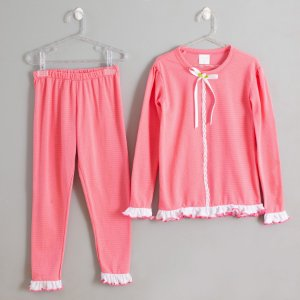 Pijama rosa babados