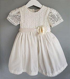 Vestido batizado off white