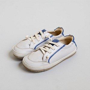 Tênis couro azul e cinza