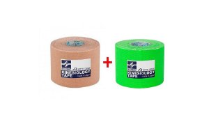KINESIOLOGY TAPE BEGE E VERDE - 5 CM