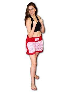 Short de Muay Thai Rosa/Vermelho