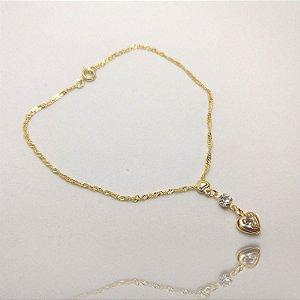 Tornozeleira Coração Diamante Folheada em Ouro 18K