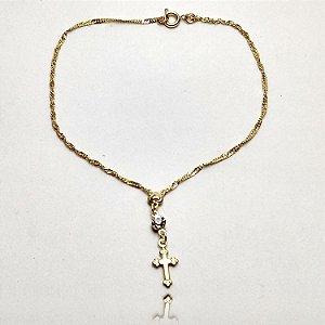 Tornozeleira Crucifixo e Pingo Diamante Folheada em Ouro 18K
