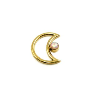 Piercing - Lua - Daith - Titânio - Gold PVD 24K - Opala Sintética - Espessura 1.2 mm