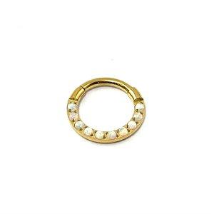 Piercing - Argola - Segmentada - Articulada - Clicker - Cravejada - Titânio - Gold PVD 24K - Opala Sintética - Espessura 1.2 mm