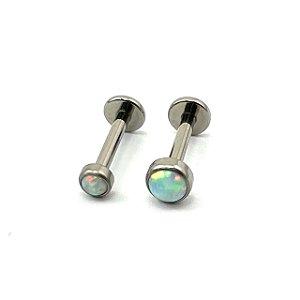 Piercing - Labret - Titânio - Opala Sintética - Rosa Interna - Espessura 1.2 mm