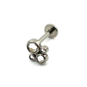 Piercing - Labret - Titânio - Zircônia - Rosca Interna - Espessura 1.2 mm