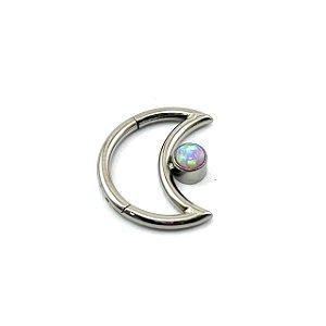 Piercing - Lua - Daith - Titânio - Opala Sintética - Espessura 1.2 mm
