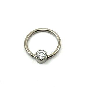 Piercing  Titânio - Captive - Clicker  - Zircônia - Espessura 1.2 mm