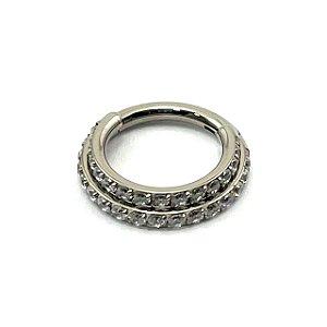 Piercing - Argola -Duplo - Segmentada - Articulada - Clicker - Cravejada - Zircônia - Titânio - Espessura 1.2 mm