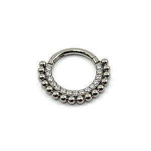 Piercing - Argola - Segmentada - Articulada - Clicker - Cravejada - Zircônia - Duplo - Titânio - Espessura 1.2 mm