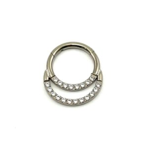 Piercing - Argola - Segmentada - Articulada - Clicker - Cravejada - Zircônia - Duplo - Titânio - Septo - Espessura 1.2 mm