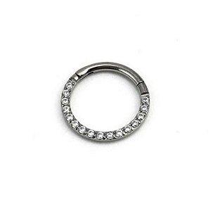 Piercing  Titânio - Argola - Segmentada - Articulada - Clicker  - Zircônia - Espessura 1.2 mm