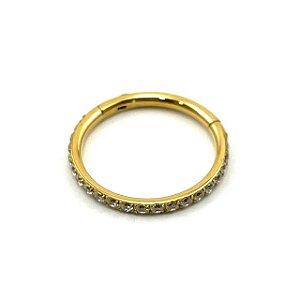 Piercing - Argola - Segmentada - Articulada - Clicker - Cravejada - Aço Cirúrgico - Gold PVD 24K - Zircônia - Espessura 1.2 mm