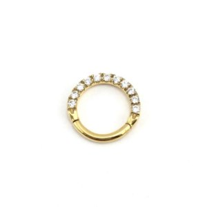 Piercing  Titânio - Argola - Segmentada - Clicker - Cravejada  - Gold PVD 24K - Zircônia - Espessura 1.2 mm