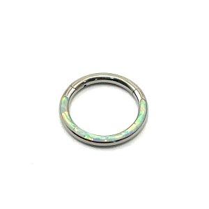 Piercing Titânio - Argola - Segmentada -  Opala Sintetica Superior - Clicker   - Espessura 1.2 mm