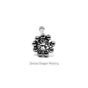 Piercing -Nostril Reto - Aço Cirúrgico - Ornamental c/ Pedra de Zircônia Branca